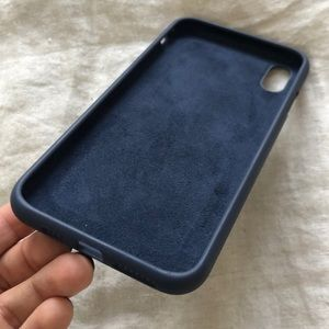 Midnight blue silicone felted iPhone XS Max case